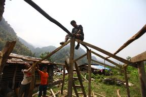 Man fixing bamboos to build a tented camp in Baluwa