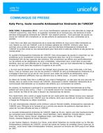 Press Release - Katy Perry UNICEF Goodwill Ambassador - 3 December 2013 - French
