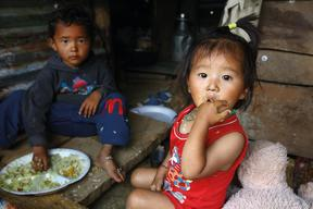 Laxman and his sister in Baluwa village in Gorkha district