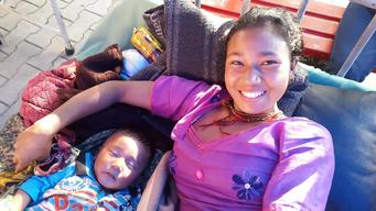 Mother/son recover from earthquake injury in UNICEF medical tent, Jorpati Hospital, Nepal