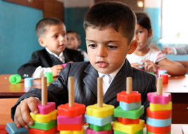 Ali Mustafayev, 5 playing in class in the UNICEF supported pre- school
