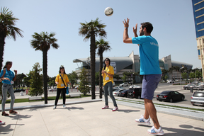 The Ambassador J.M. Calderon plays with participants of workshop on Safe and Inclusive Sport