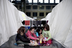 Refugees at Templehof Airfield in Germany - 2015